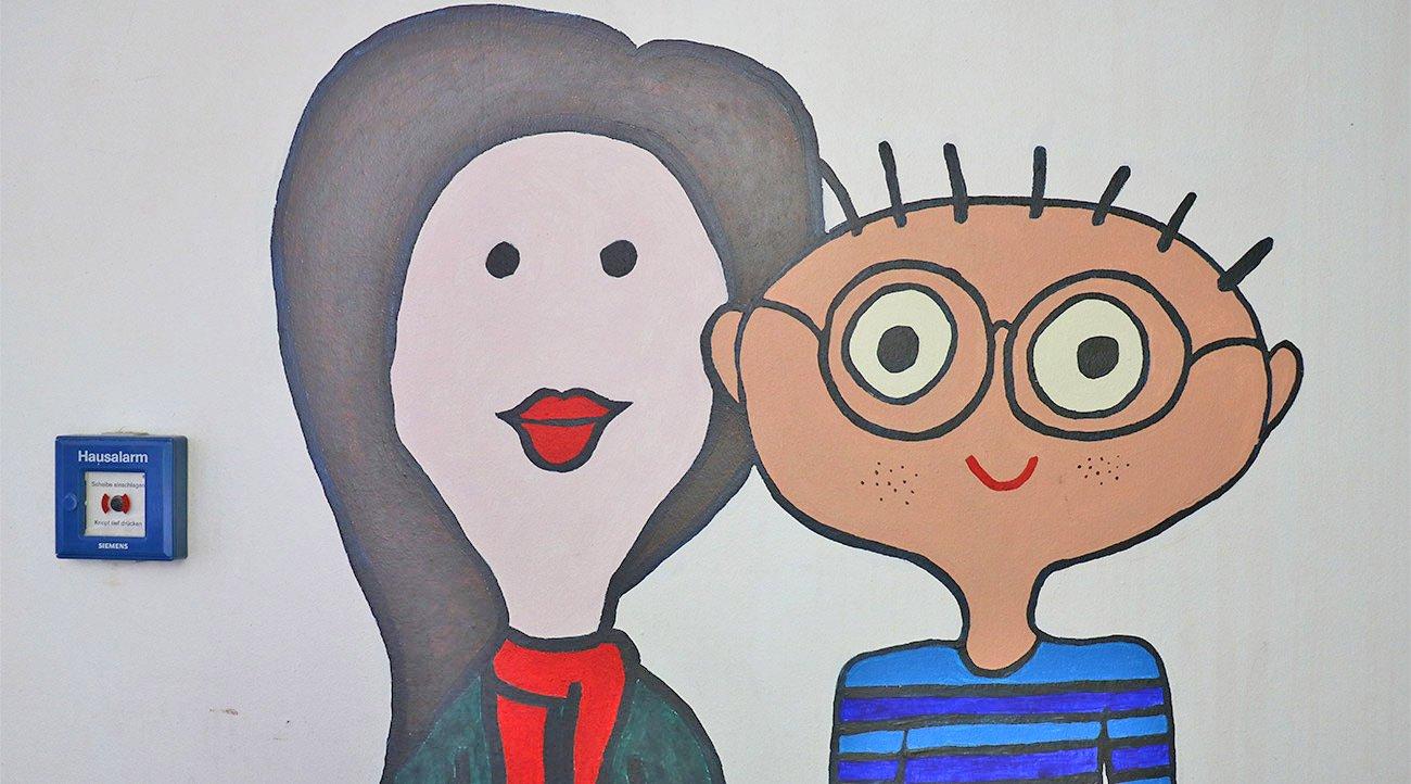Wandmalerei von Schülern
