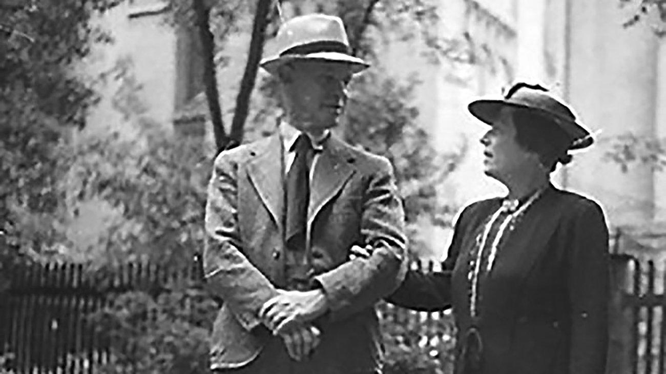 Eugen und Emma Oberdorfer etwa um 1937 in Augsburg: Sie wurden im KZ Auschwitz ermordet und waren die Großeltern von Miriam Friedmann, die mit den Holbein-Schülern sprach.